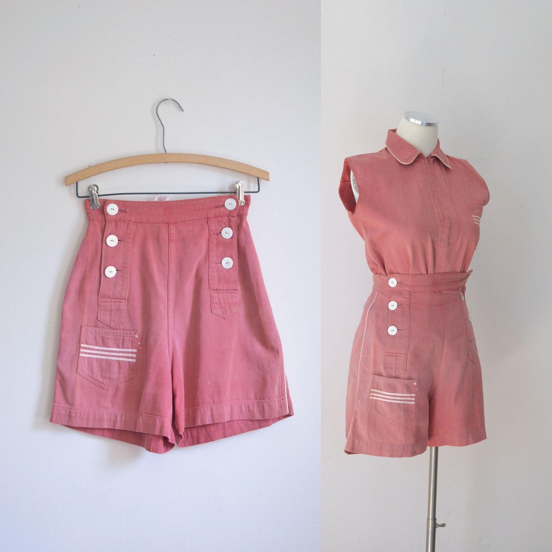 ce2fd11b5157 1940s Sailor Shorts  amp  Top   30s 40s Nautical Denim Playsuit