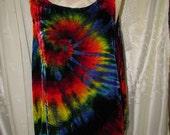 SALE Hippie Tie Dye Shirt, unusual velvet top sleeveless peace sign psychedelic festival tank top unisex rainbow spiral funky love