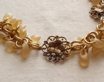 Shaggy Loops Bracelet Gold Yellow Brass Flowers Chain Maille Hand Made