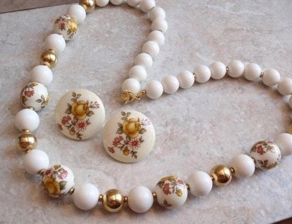 Ceramic Beaded Necklace Earrings Set Yellow Rose Japan Vintage