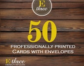 Printing - 50 Printed Cards - Invitation Printing - Card stock and Envelopes