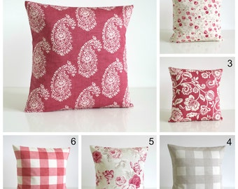 20x20 pillow cover, 20 inch pillow cover, throw pillow, pillow sham, cushion cover, cottage chic - Shabby Chic Raspberry Collection