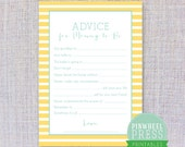 Print Your Own Mommy Advice Cards - Stripe - Yellow & Aqua - Baby Book Keepsake - Baby Shower Game - PDF - Instant Download