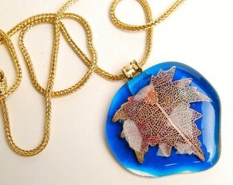 Large Turqouise and Gold Leaf Necklace