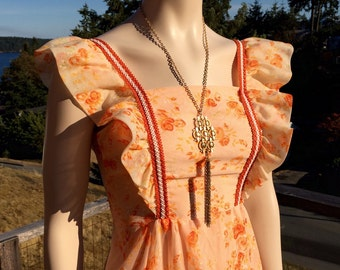 Vintage 70s Sleeveless Orange Maxi HiPsTer PRAIRIE Dress XXS XS S