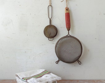Vintage Pair of Wooden Handled and Metal Sifters - rustic kitchen/Stylist Props