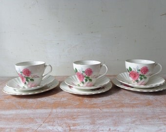 Vintage Set of 3 Old Foley Trios - tea cups/saucers/cake plates