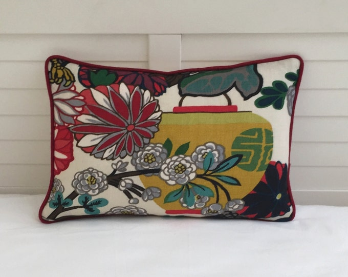 Schumacher Chiang Mai Dragon in Alabaster  (Large Lantern) Designer Pillow Cover with Red Piping