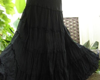 Ariel on Earth - Boho Gypsy Long Tiered Ruffle Cotton Skirt - BLACK