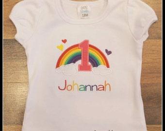 Custom Rainbow Applique Birthday Shirt