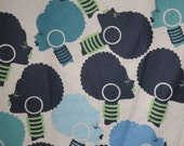 Fabulous Blues and Green African Ladies Heads Prints Pure Cotton Fabric--One Yard