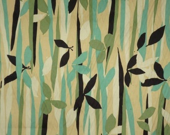 REMNANT--Shades of Green with Black Flowers and Leaves Print Stretch Cotton Sateen Fabric--1&1/8  Yard