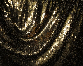 "SPECIAL--Bronze Allover Teardrop Paillettes Stretch Illusion Fabric--""As Is""--One Yard"