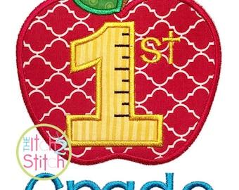 "Apple School 1st Grade Number Applique Design, word ""Grade"" Include, sizes 4x4, 5x7, & 6x10 INSTANT Downloads"