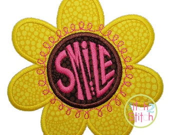 Smile Flower Applique For Machine Embroidery Hoop Sizes 4x4, 5x5, 6x6 & 7x7 INSTANT DOWNLOAD available