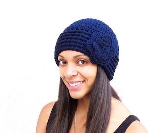 Crochet Beanie, Cloche Hat, Adult, Women, Teen, Navy Blue, Flower, Ready To Ship,