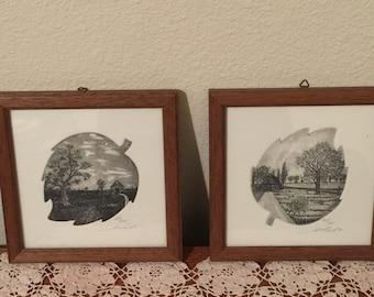 Set of two Vintage Pen Ink Art Drawings Leaf Shape Framed Germany