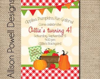Fall Harverst, Pumpkin Party, Apple Picking Party, Fall Party Birthday Party, Painting Party Invitations