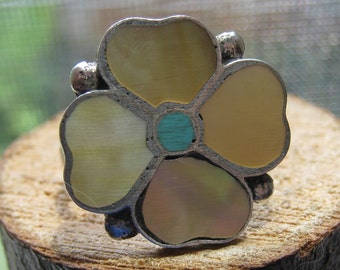 Southwestern Zuni Artist Signed Vintage Sterling Silver Inlay Flower Ring with Abalone and Turquoise Size 7 1/2