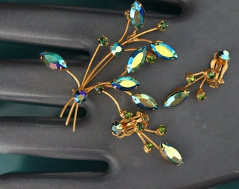 Green/Blue Aurora Borealis Brooch & Clip Drop Earring Set