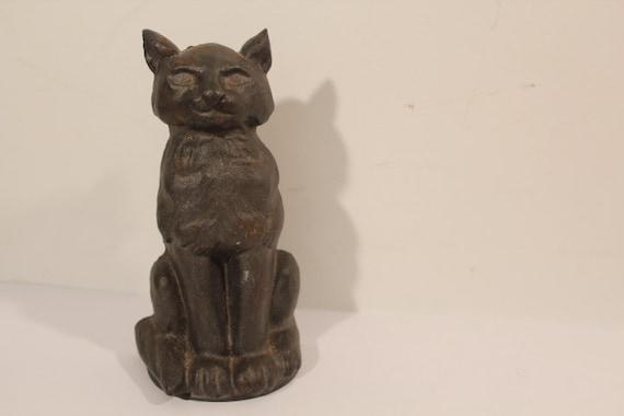 Vintage cat doorstop cast iron cat sitting cat - Cast iron cat doorstop ...