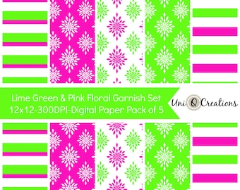 Digital Paper with Lime Green & Pink Flowers, Instant Download Scrapbook Paper, Digital Printable Web Background Photography