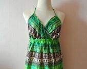 Green Maxi dress,Tribal Maxi Dress,Summer Dress,high slit dress,boho dress,halter dress,Medium to Large dress