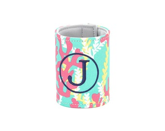 Personalized Monogrammed Mint Pink Reef pattern wrap Can cooler--Free Monogramming--Fast Turnaround