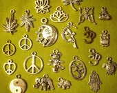 Charm pack for jewelry making- you pick 10- peace sign, cannabis, Buddha, ohm, mushroom, elephant, grateful dead, supplies