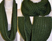 Chunky Long Cowl- Green Cowl-  Uni-sex Infinity Scarf- Chunky Neckwarmer- Handmade Crochet