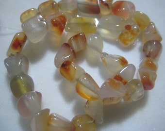 "Agate Nugget Beads, Translucent White with Splashes of Orange, Polished Natural Semi-Precious Gemstones, 10 to 15mm, 15 3/8"" strand, 34 pcs."