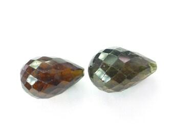 TOURMALINE BeAds. Natural. Dark Muddy Green. Briolette Beads. Matched Pair. 2 pc. 10.30 cts. 8x12 mm (TM2103)