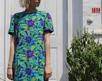 ON SALE -Vintage 90's August Hale tropical floral silk dress