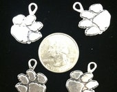 Clemson Tiger Paw Charms Antique Silver