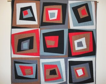 "Modern hand quilted wall hanging -- the ""Mad Men"" quilt"