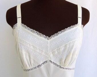 Vintage 50's 60's Full Slip White Nylon Lace and Chiffon Eyelet Trim Size  34 S / Small