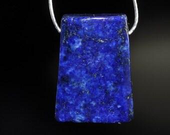 Listed @ 10% Off Sale Was 3.99---13x18x6mm Charming~Natural Indigo Blue Pyrite LAPIS LAZULI Small Trapezoid Bead Pendant - I0922