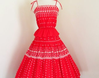 Carmencita... vintage 1960's Papy's red and whitem embroidered summer top and skirt set