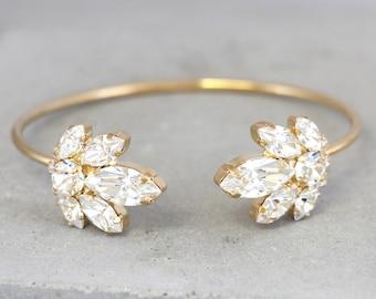 Bridal Wedding Bracelet,Swarovski Crystal Bracelet,Bridal Crystal Cuff,Bridesmaids Jewelry,Cuff Bracelet,Open cuff Bracelet,Crystal Bracelet