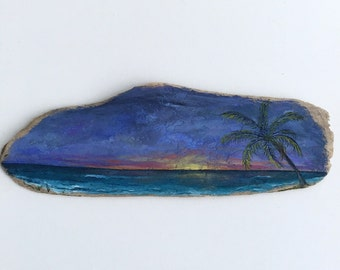 Sunrise and Palm Tree Driftwood Painting