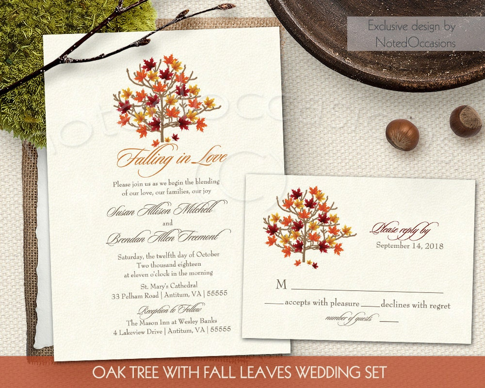 Fall Wedding Invitation Wording: Fall Wedding Invitation Set Autumn Oak Tree By NotedOccasions