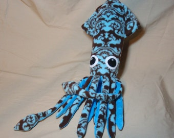 Daniella the Turquoise Blue and Chocolate Brown Damask Print Fleece Squid Plushie Stuffed Animal