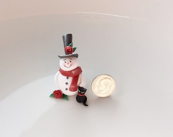 Christmas snowman ornament in miniature with little black cat handmade from polymer clay