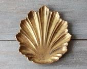 Vintage Brass Shell Leaf Dish