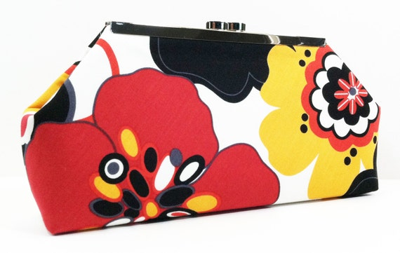 Clutch Purse Bag - Red Yellow and Black Flowers, Gifts for Girlfriend