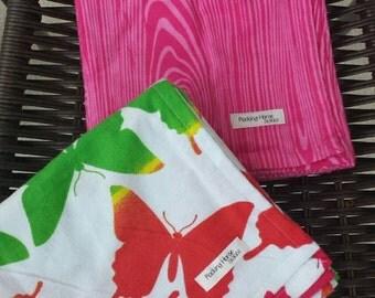 Flannel blanket pair - rainbow butterflies and hot pink woodgrain