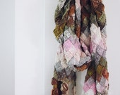 knit scarf large with tassels painted desert - pink, cream, rust, olive, lavender and grey LAST ONE