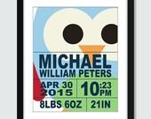 Modern Owl Alphabet ABC Birth Announcement (Set of 3) BOY - Wall Art - 8x10 Children Nursery Wall Print Poster