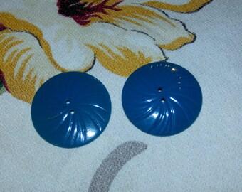 """Set 2 Vintage Large Blue Colored  Plastic Coat Buttons, 1 1/2"""" Diameter"""
