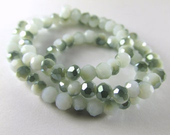 Green and White Crystal Glass Rondelles 4mm x 3mm Jewelry Beads 10 inch strand